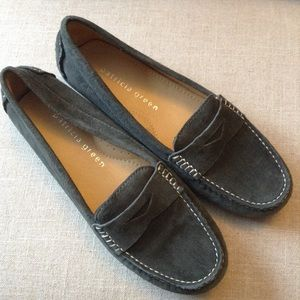 new PATRICIA GREEN suede driving loafer shoes 37 7